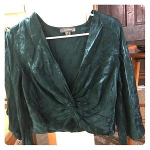 Green cropped blouse